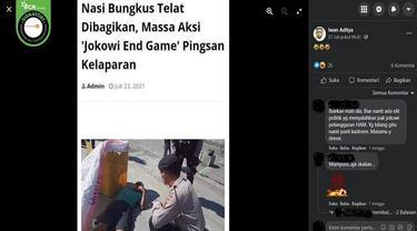 Gambar Tangkapan Layar Foto yang Diklaim Seorang Pendemo Jokowi End Game Pingsan Kelaparan (sumber: Facebook).