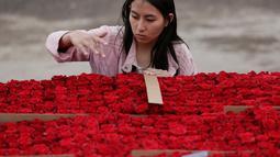 Penduduk setempat mengitung bunga mawar untuk pembuatan piramida Cochasqui dalam upaya pemecahan Guinness World Records di Tabacundo, Ekuador, 20 Juli 2018. Piramida dibangun  oleh 1.500 orang yang bekerja 16 jam sehari selama 1 minggu. (AP/Dolores Ochoa)