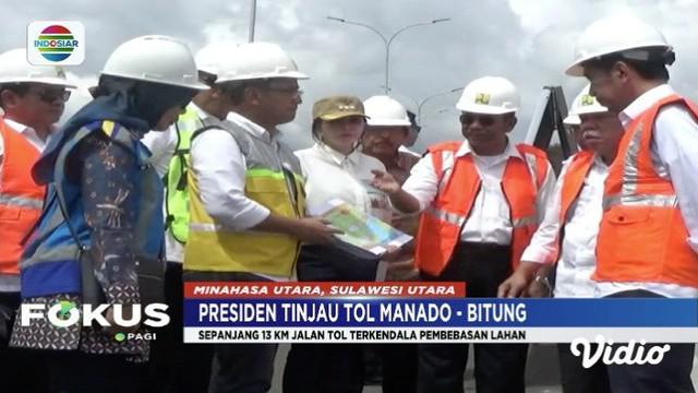 Presiden Jokowi tinjau perkembangan pembangunan proyek jalan Tol Manado-Bitug di Kabupaten Minahasa Utara.