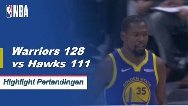 Stephen Curry skor 30, Kevin Durant skor 28, dan Klay Thompson mendapatkan skor 27 saat Warriors menang atas Hawk, 128-111