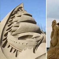 Bukan cuma jadi tempat berjemur di pantai, pasir juga bisa jadi kreasi patung yang mengagumkan. (Via: facebook.com/arteide.org)