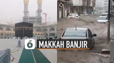 Beredar video Kota Makkah dilanda banjir dan hujan es yang menyebabkan kendaraan roda empat dan dua tidak bisa berjalan.