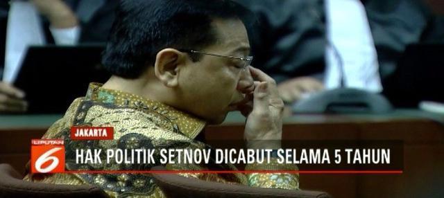 Mantan Ketua DPR RI Setya Novanto divonis hukuman 15 tahun penjara, dan denda 7,3 juta USD. Selain itu, hak politik Setnov juga dicabut selama 5 tahun.