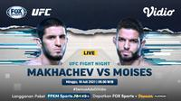 Link Live Streaming UFC Fight Night : Islam Makhachev vs Thiago Moises di Vidio, Minggu 18 Juli 2021. (Sumber : dok. vidio.com)