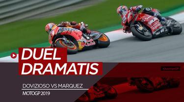 Berita video momen kemenangan dramatis Andrea Dovizioso atas Marc Marquez di MotoGP 2019, Minggu (11/8/2019).