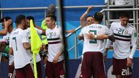 Timnas Meksiko menang 2-1 atas Korea Selatan pada laga lanjutan Grup F Piala Dunia 2018, di Rostov Arena, Sabtu (23/6/2018) malam WIB. (AFP/Khaled Desouki)