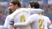 Sergio Ramos mencetak gol kedua Real Madrid (ANDER GILLENEA / AFP)