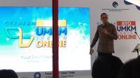 Dirjen Aptika Kemkominfo Semuel Abrijani Pangerapan dalam acara UMKM Go Online di Pasar PSPT Tebet, Jakarta Selatan, Selasa (26/2/2019). Liputan6.com/ Agustin Setyo Wardani