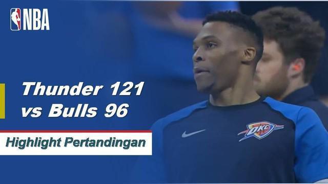 Russell Westbrook mencetak triple-double ke-7 musim ini dengan 13 poin, 16 rebound dan 11 assist melawan Bulls 121-96