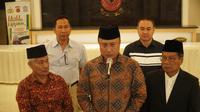 Tokoh lintas agama bersama Kepolisian Daerah Jawa Barat menggelar jumpa pers atas peristiwa penembakan masjid di Selandia Baru. (Huyogo Simbolon)