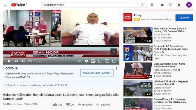 Gambar Tangkapan Layar Video dari Channel YouTube Talk Show tvOne