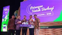 Konferensi Pers Patungan untuk Berbagi Ovo x Tokopedia x Grab di Jakarta, Kamis (2/5/2019). (Liputan6.com/ Agustinus M. Damar)