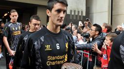 1. Luis Alberto - Meski hanya berperan kecil, Luis adalah salah satu pilar yang masuk skuat Liverpool saat menantang gelar liga pada 2013/14. Kesulitan menembus skuad The Reds membuat Luis minta dijual. (AFP/Paul Crock)