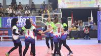Tim putri Kharisma Bandung lolos ke semifinal Livoli 2019 Divisi Utama. Kharisma mengalahkan Vita Solo 3-0 di GOR Dimyati, Tangerang, Banten, Jumat (18/10/2019). (foto: PBVSI)