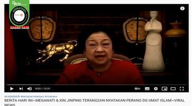 Gambar Tangkapan Layar Kabar Hoaks tentang Megawati dan Xi Jinping Nyatakan Perang Lawan Umat Islam (sumber: YouTube).