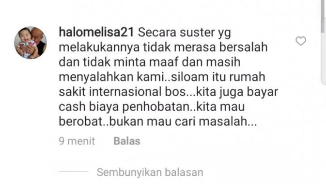 Pernyataan yang dibuat akun Instagram @halomelisa21 di kolom postingannya, sebelum akhirnya akun tersebut terkunci untuk umum (Dok. Instagram @halomelisa21 / Nefri Inge)