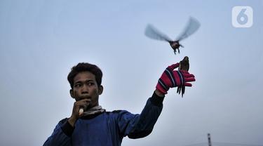Toni membunyikan peluit saat melatih burung free fly di Jakarta, Minggu (26/7/2020). Sudah dua tahun Toni dan Sulaiman menggemari hobi bermain burung free fly yang rutin dilakukan tiap minggu untuk mengisi kegiatan saat libur kerja. (merdeka.com/Iqbal Nugroho)