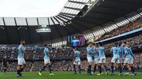 Pemain Manchester CIty merayakan gol David Silva pada laga Liga Inggris melawan Southampton di Etihad Stadium, Minggu (4/11/2018). (AFP/Paul Ellis)