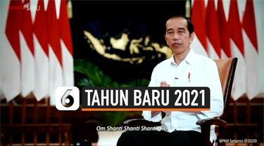 Presiden Jokowi menyampaikan pidato tahun baru 2021. Jokowi mengatakan tahun 2021 adalah tahun kebangkitan ekonomi dan membocorkan vaksinasi dilakukan pertengahan Januari 2021.