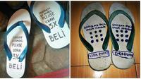 Tulisan Lucu di Sandal Jepit Ini Bikin Ketawa Cekikikan (sumber:sandalsancu.com)