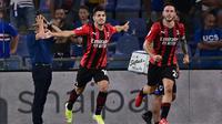 AC Milan meraih kemenangan 1-0 atas Sampdoria pada laga pekan perdana Serie A di Stadio Luigi Ferraris, Selasa (24/8/2021) dini hari WIB. Gol tunggal kemenangan Milan dicetak Braim Diaz. (AFP/Miguel Medina)