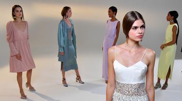 Para model memeragakan kreasi busana dari koleksi Musim Semi/Panas 2021 Vivienne Hu dalam ajang New York Fashion Week (NYFW) di New York, Amerika Serikat, 15 September 2020. Di tengah pandemi COVID-19, sebagian besar peragaan busana dalam NYFW tahun ini digelar secara daring. (Xinhua/Mike Coppola)