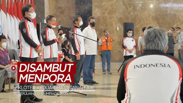 Berita video kloter kedua para atlet Indonesia yang berjuang di Olimpiade Tokyo 2020 telah tiba di tanah air dan disambut Menpora, Zainudin Amali, Minggu (1/8/2021) sore hari WIB.