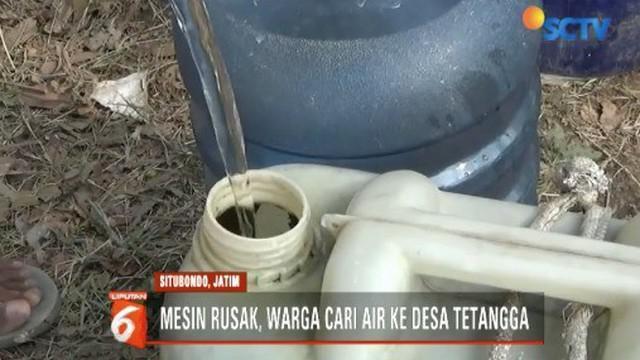 Satu pekan pompa air rusak, warga di Situbondo, Jawa Timur, kesulitan mendapatkan air bersih.