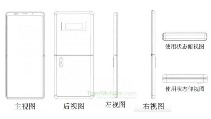 Xiaomi mengungkap paten smartphone layar lipat vertikal serupa dengan Motorola Razr. (Doc: Tiger Mobiles)