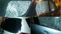 3 Mobil yang diberondong peluru di Kantor Konfederasi Serikat Buruh Sejahtera Indonesia (KSBSI). (IST)
