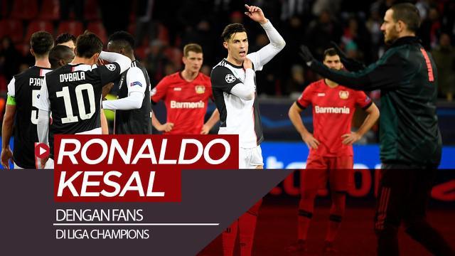 Berita video insiden Cristiano Ronaldo kesal dengan fans yang masuk ke lapangan setelah laga Bayer Leverkusen vs Juventus di Liga Champions, Rabu (11/12/2019).