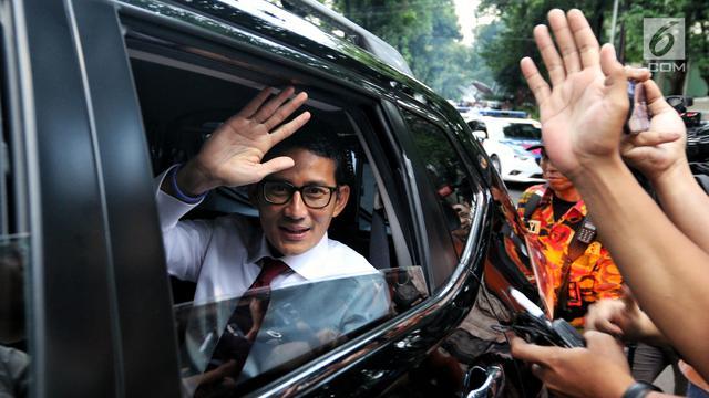 Prabowo - Sandi Tinggalkan Rumah Kertanegara Menuju Lokasi Debat Pilpres