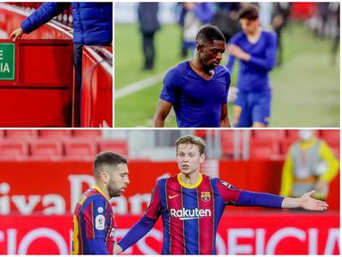 Para pemain Barcelona tak mampu menutupi kekecewaan usai digilas Sevilla pada laga leg pertama semifinal Copa del Rey. Berikut reaksi Lionel Messi dkk usai dipermalukan Sevilla dua gol tanpa balas.