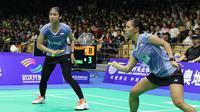 Della Destiara Haris/Rizki Amelia Pradipta takluk dari Yuki Fukushima/Sayaka Hirota, pada semifinal Kejuaraan Asia Bulutangkis 2018, Sabtu (28/4/2018). (PBSI)