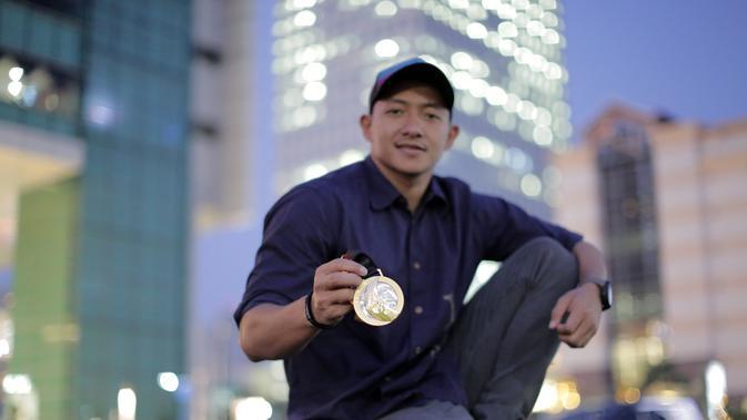 Beby Willy Eka Paksi Tarigan, atlet polo air Indonesia yang berhasil merebut medali emas di SEA Games 2019. (Marco Tampubolon/Liputan6.com)