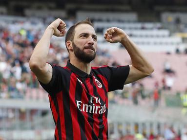 Striker AC Milan, Gonzalo Higuain (AP Photo/Antonio Calanni)