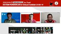 Webinar nasional dengan tema Sistem Pendidikan di Tengah Pandemi Covid-19 yang digelar Taruna Merah Putih (TMP) diikuti Mendikbud Nadiem Makarim, Ketua TMP Maruarar Sirait dan Ketua DPD TMP Jawa Tengah Hendrar Prihadi. (Ist)