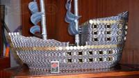 Sergei Nikolayev habiskan 17 ribu uang koin untuk menyelesaikan miniatur kapal 3D. (Foto: Globaltimes.cn)