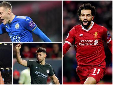 Berikut ini top scorer sementara Premier League musim 2017/2018 hingga pekan ke-32. Mohamed Salah masih teratas dengan torehan 29 gol. (Kolase foto-foto AP dan AFP)