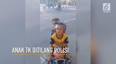 Dua bocah yang diketahui masih duduk di Taman Kanak-kanak diberhentikan polisi karena hal ini.