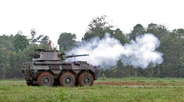Tak seperti Panser Anoa, Panser Badak ini dilengkapi dengan senjata cannon berkaliber 90 mm. (Foto:Humas Pindad)