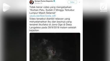 Viral sebuah video wanita selamat setelah tertimbun lumpur selama 2 minggu di Palu. Ternyata wanita tersebut tidak tertimbun selama 2 minggu, namun 1 malam.