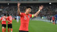 Pemain Timnas Korea Selatan, Son Heung-min. (AFP/Jung yeon-je)