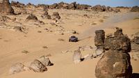 Pembalap asal Prancis, Stephane Peterhansel dan navigatornya Paulo Fiuza berhasil memenangkan stage keempat Reli Dakar 2020 yang menempuh rute dari Neom ke Al-Ula, Arab Saudi, 8 Januari 2020. (FRANCK FIFE / AFP)