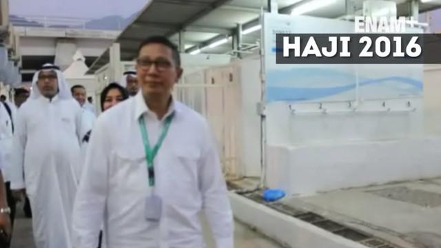 Menteri Agama Lukman Hakim Saifuddin memeriksa kesiapan jajarannya dalam puncak ibadah haji wukuf di Padang Arafah