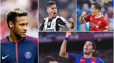 Berikut ini 10 pemain yang masuk nominasi penghargaan Ballon d'Or 2017. Diantaranya, Neymar Jr, Luis Suarez, Paulo Dybala. (Foto-foto Kolase AP, EPA dan AFP)