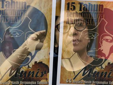 Foto multiple exposure istri aktivis HAM Munir, Suciwati saat menyampaikan keterangan bersama terkait 15 tahun terbunuhnya aktivis HAM Munir di Jakarta, Jumat (6/9/2019). Koalisi Keadilan untuk Munir mendesak pemerintah tegas dan serius menuntaskan kasus Munir. (Liputan6.com/Helmi Fithriansyah)