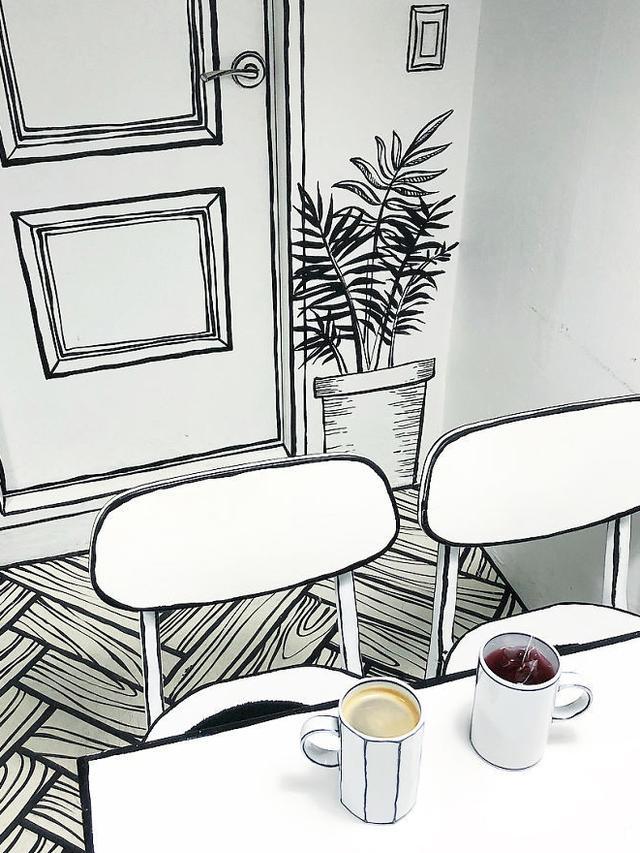 Kafe berkonsep komik (foto: boredpanda/@ynd239.20_cafe)
