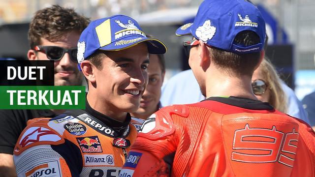 Berita video pembalap tim Repsol Honda, Jorge Lorenzo dan Marc Marquez, menjadi duet pembalap terkuat untuk MotoGP 2019.