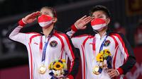 Kemenangan ganda putri bulu tangkis Indonesia Greysia Polii/Apriyani Rahayu di Olimpiade Tokyo 2020. Dok: KBRI Jepang